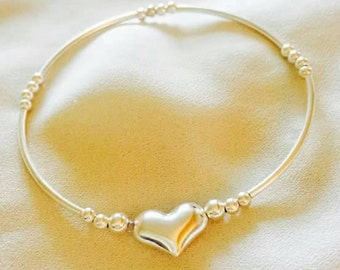 Sterling Silver Tube Bracelet with Puff Heart Charm