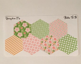 May Flowers Hexagon Stickers Inkwell Press Monthly Dashboard ECLP Mambi Filofax Kikki K Happy Life Planner spring floral