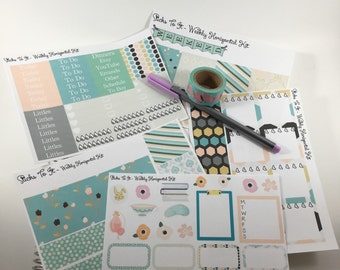 Pastel Easter Spring Weekly Kit Mambi Happy Planner Stickers ECLP Girly Check Lists Daily Boxes