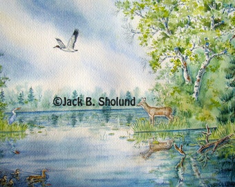 Eagle Lake Outlet Nature Scenery and Wildlife Watercolor Notecard