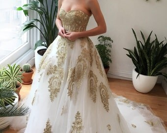SAMPLE SALE Gold Lace Strapless Ballgown Wedding Dress