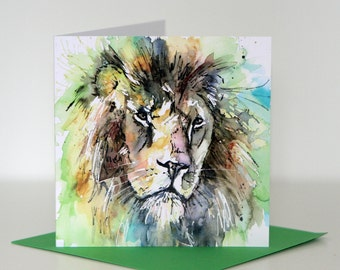 Leo the Lion greeting card, blank card, lion card, green