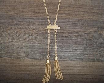 Gold Bohemian Long Double Tassel Necklace