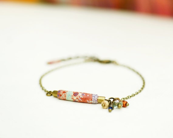 Boheme orange bracelet 'Osmanthe' patchwork of handmade japanese patterns