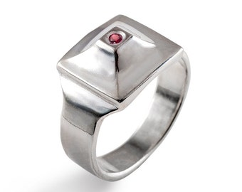 PYRAMID Ring, Unique Men's Ring, Sterling Silver Men's Ring, Men's Ruby Ring, Men's Silver Ring, Silver Ruby Ring, Egyptian Ring