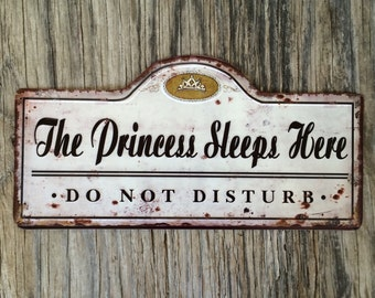 Vintage style tin metal sign // gift for her baby girl nursery decor // shabby chic rustic nostalgic wall art // princess do not disturb