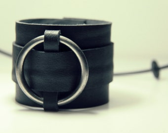 Leather with metallic strap