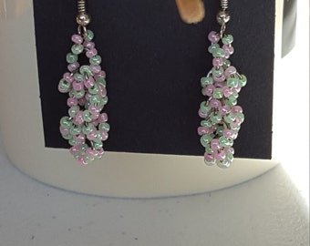 pink and green beaded cluster earrings