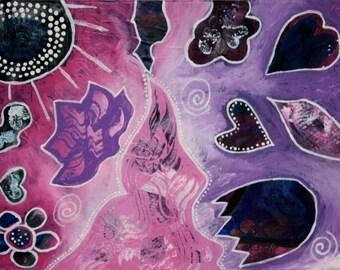 Abstract Art, Mixed Media, Acrylic Painting, Wall Art, Flowers