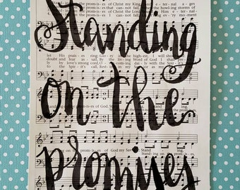 Binding Rewinding Standing on the Promises hymnal sheet wall art