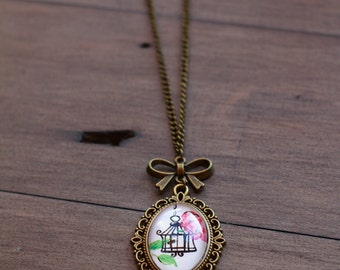Handmade Vintage medallion Necklace with hand-drawn design