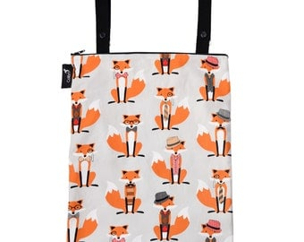 Ready to ship - Wet bag with 2 straps, zipper and PUL liner foxes