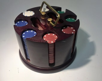 Vintage Poker Chips and Caddy - Cherry Finish