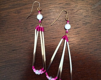 Pink Porcupine Quill Earrings