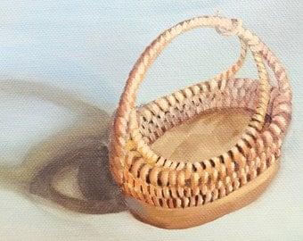 Trompe L'oeil Painting of Wicker Basket Still Life