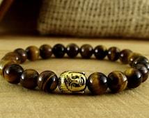 Tiger Eye Bracelet Buddha Jewelry Stone Bracelet Meditation Jewelry Reiki Healing Bracelet Ethnic Jewelry Mantra Bracelet Spiritual Jewelry