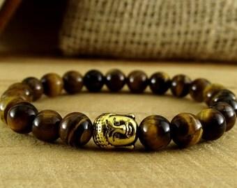 Yoga bracelet Yoga jewelry Protection bracelet Energy bracelet Buddha bracelet Buddhist jewelry Meditation bracelet Tiger eye stone bracelet