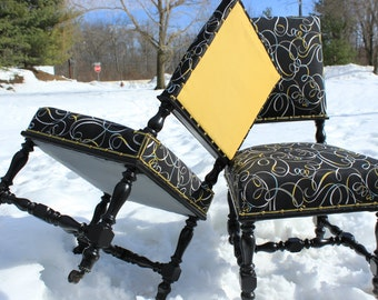 2 French RENAISSANCE Chairs reupholstered