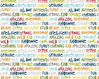 Riley Blake Military Max 4375 Fun Words on White