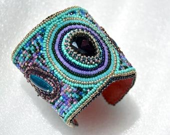 "Embroidered Seed beaded cuff bracelet ""Oriental fairy tale"""