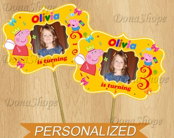 Peppa Pig Centerpiece with photo, Centerpiece PERSONALIZED, Digital File