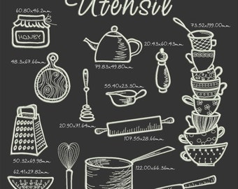 Utensil Embroidery Designs Kitchen, 13 subjects