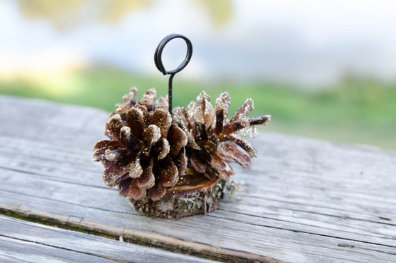 10 pcs gold glitter pine cone place card holders rustic woodland wedding escort card holders fall wedding place card holders