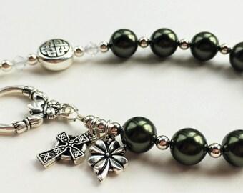 Deep Green Celtic Irish Rosary Bracelet, Swarovski Pearl, Catholic Bracelet, Godmother Gift, Confirmation