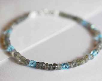 Labradorite gemstone bracelet, arm candy bracelet, friendship bracelet