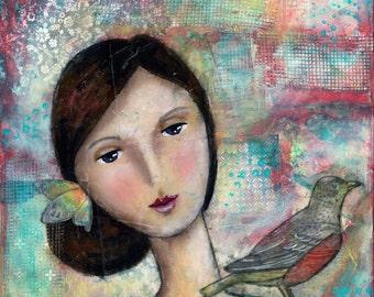 Brunette with Robin Original 12x12x3/4 Original Mixed Media Artwork