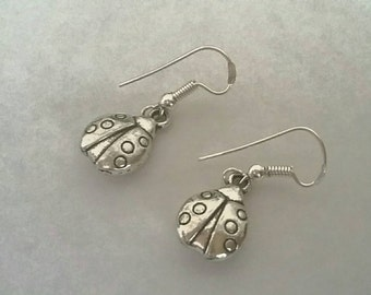 Ladybird ladybug drop dangle earrings silver plated pierced ears