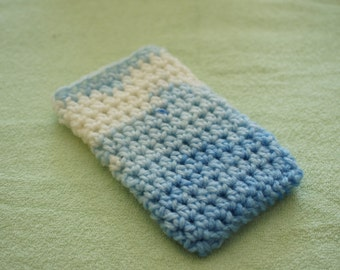 iPhone 4/4S sleeve; iPhone 4/4S case; crochet sleeve; white-blue yarn