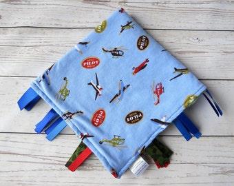 Tag Blanket, Lovey Blanket, Stroller Blanket, Sensory Blanket, Minky Blanket, Baby Blanket - Airplanes & Helicopters