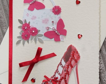 Red shoe and Handbag Birthday card