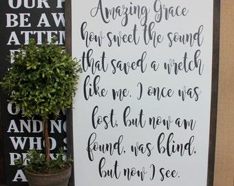 Amazing Grace | Wood Sign | Christian | Home Decor | Handmade | Hymn