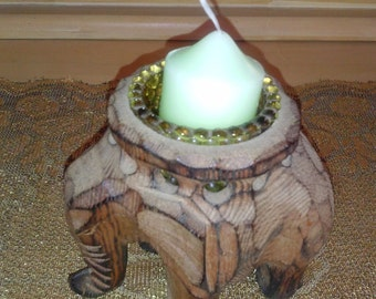 Wooden carved Elephant Shaped candle holder*