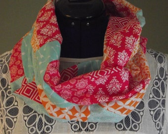 Pink Blue and Orange, Cotton Patchwork Infinity Scarf, Adult, Lightweight
