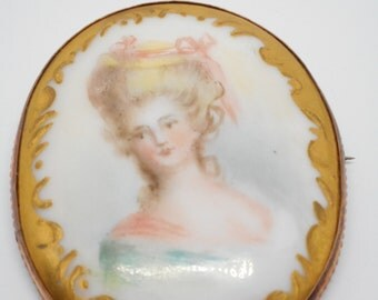 Antique Victorian Portrait Pin Brooch 9K Rose Gold Hand Painted