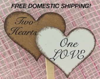 Rustic Double Heart Cupcake Toppers (8 pieces)