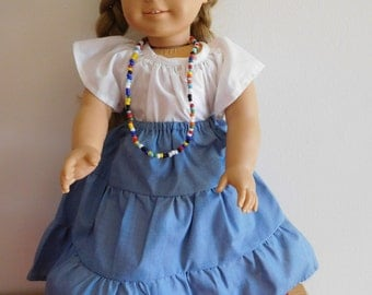 American girl skirt, blouse and necklace