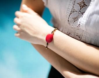 Coral  Bracelet- Beaded Bracelet-Red And Gold Bracelet B-43