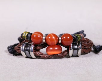 Leather Braided Bracelet With Red Agate-  Round And Donut Beads Agate Bracelet- LB38