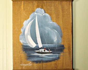 Hand Painted Sail Boat on Wood Signed by Joyce Langelier