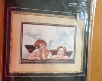 Counted Cross Stitch Kit  HEAVENLY CHERUBS By: janlynn Corp
