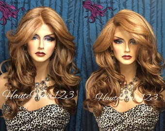 Honey Caramel Blonde Highlights Human Hair Blend Realistic Lace Front Wig