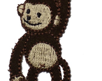 Brown Monkey on a Branch Embroidered Iron On Applique