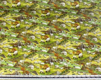 Countryside Sheep Hills Grass Green 100% Cotton High Quality Fabric Material *2 Sizes*