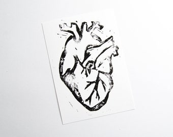 Postcard A6 postcard linocut linocut heart