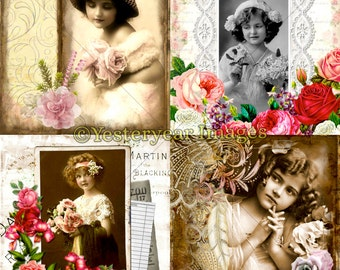 Vintage FLOWER GIRL Collages - Digital Images Collage Sheets - Instant Download - 3 PNG Files 4x4 - 2x2 - 1x1