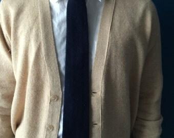 Vintage blue flannel knit western tie